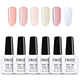 Elite99 Manicura Francesa Semipermanente Kit, 6 Colores de Esmaltes de Uñas Semipermanentes en Gel UV LED 10ML con Pegatina
