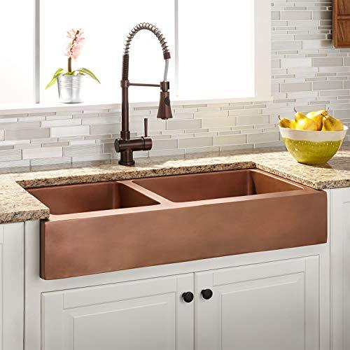 Signature Hardware 937092-33 Raina 33' 60/40 Double Basin Copper Retrofit Farmhouse Sink