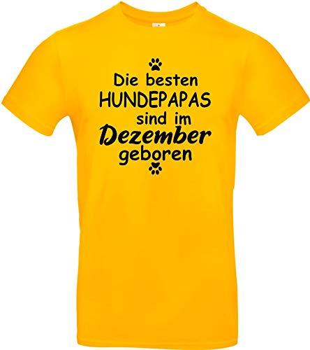 Shirtstown - Camiseta, diseño con texto en alemán 'Die besten Hundepapas sind im diciembre geboren Hund Herrchen Haustier' amarillo L