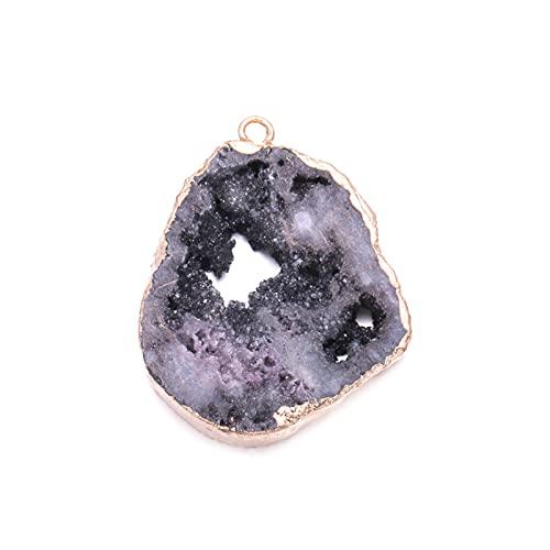 WERWER Colgante de Piedra de Cristal Natural DIY Irregular para Collar o joyería (Metal Color : 8)