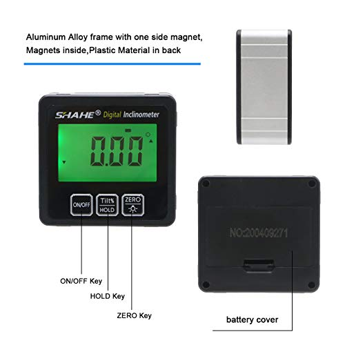SHAHE Digital Inclinometer Bevel Box Electronic Protractor with Backlight Magnetic Digital Level and Angle Finder Digital Angle Gauge 5515-90D
