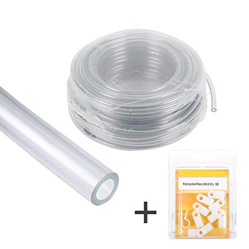 Kit de tuyau d'arrosage 10 mètres de tuyau d'eau transparent 8 mm + 10 colliers de serrage pour installation d'eau, caravane et camping-car