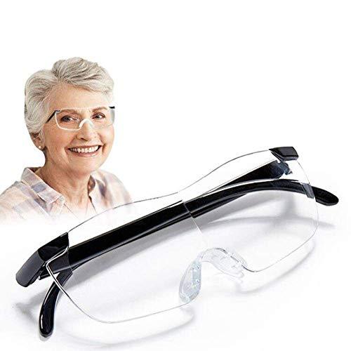 Diadema Manos libres Diadema Lupa Gafas 1.5x-3x Zoom Cabeza montada en la cabeza Lupas para leer, joyería Lupa, reloj, reparación electrónica, negro