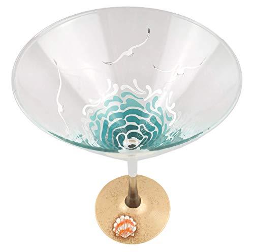 Tropical Beach Martini Glass - Hand Painted - Starfish, Sea Shell, Waves, Seagulls, Sand,Summer
