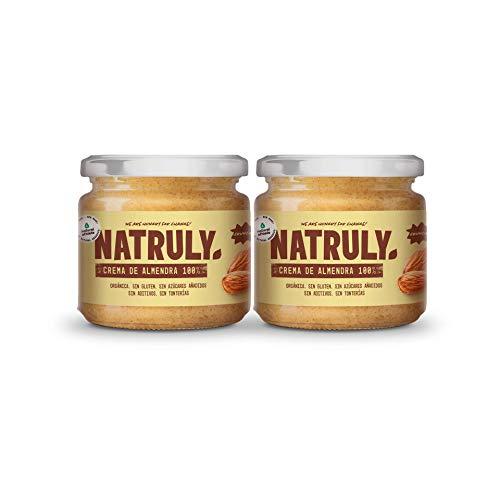 NATRULY Crema di Mandorle BIO Crunchy, Burro di Frutta Secca Senza Zucchero, Senza glutine, Senza Olio di Palma (Mandorle, 2x300g)