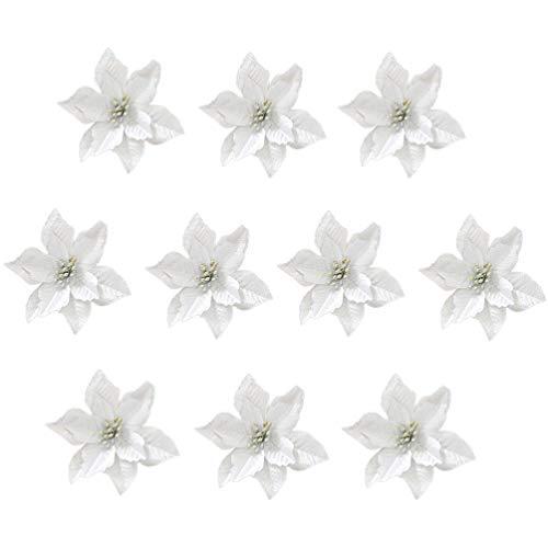 TOYANDONA 24pcs Fiori Artificiali di Natale Argento Poinsettia Ornamenti per Alberi di Natale (13 cm)