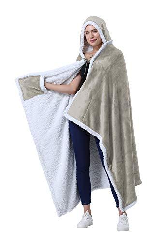 Catalonia Classy Poncho als Decke, Kapuzendecke Sherpa Cosy Plüsch Fleece Tragbare Decke für Erwachsene Frauen Männer Kinder Kuschelüberzug zu Hause oder im Freien, 125 x 200 cm, Kamel