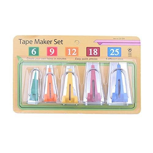 Herramientas para hacer cinta al bies, 5 tamaños, 6 mm, 9 mm, 12 mm, 18 mm, 25 mm, kit de herramientas para coser cinta al bies para encuadernar colchas