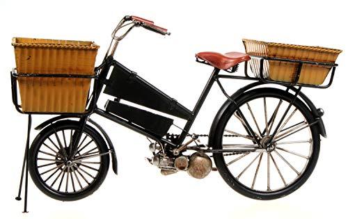 Schick-Design Fahrrad mit 2 Körben 30 cm schwarz aus Metall mit Hilfsmotor Oldtimer Nostalgie Blech Modell Rad Velo