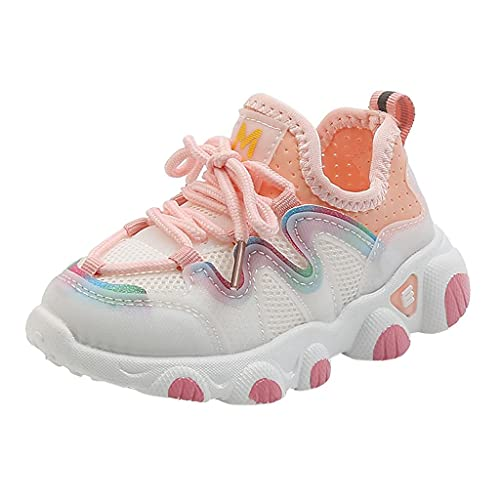 Zapatillas deportivas para niños y niñas, zapatillas para niños, de malla, transpirables, unisex, antideslizantes, para el tiempo libre, con cordones, Rosa., 25