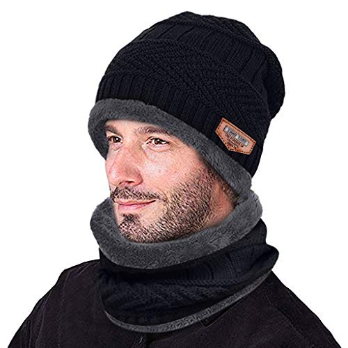 Zimuuy Herren Beanie Mütze Männer Strickmütze und Schal Winter Warme (Tief grau)