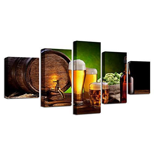 Tianjss 5 stuks bier- en wijnglas decoratie keuken afbeeldingen modulair HD canvas schilderij moderne decoratie voor thuis foto's