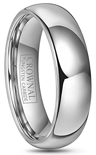 CROWNAL 4mm 6mm 8mm 10mm Tungsten Wedding Band Ring Men Women Plain Dome Polished Size Comfort Fit Size 3 to 17 (6mm,10)