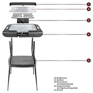 Bomann BQS 2244 CB, Barbecue-Standgrill, Verchromter Grillrost, Metallauffangschale, Windschutz, Grillfläche: 35,5 x 24,5 cm, 2000 Watt