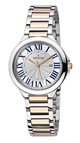 KRONOS - Ladies White 998.9.23- Reloj de señora de Cuarzo, Brazalete de Acero Bicolor, Color Esfera: Plateada
