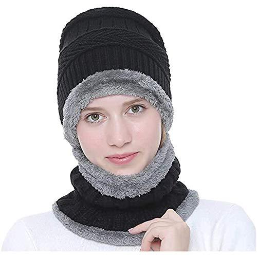 Ereach Invierno Gorros de Punto con Bufanda de Hombre Conjunto de Bufanda Sombrero con Forro de Lana para Hombre de Invierno (Negro)