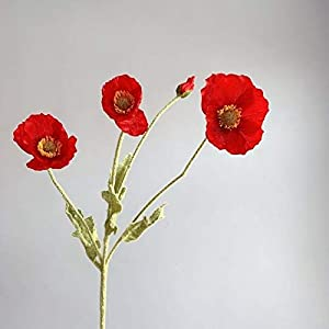 SJNB Sculpture Ornaments Corn Poppy Flower Artificial Flocking Simple Household Decorative Party Tabletop Handmade Creative Flower Arrangement B