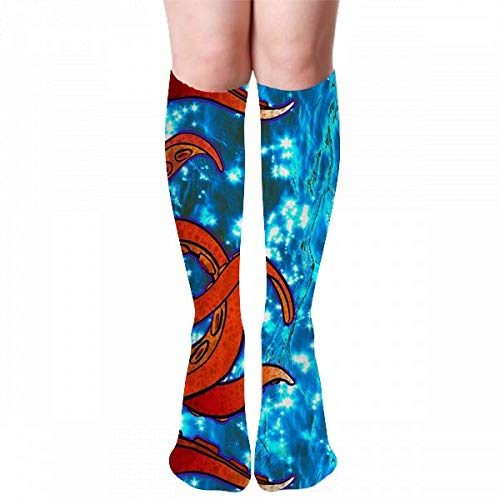 hgdfhfgd Tentacle Border H02 Calcetines hasta la Rodilla de Invierno para Mujer Medias Medias Calcetines al Aire Libre (50 cm)