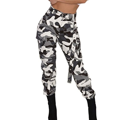 Yvelands Moda Mujer Pantalones de Carga Elegante Camo Pantalones Casuales Ejército Militar Combate Pantalones de Camuflaje Deporte, Liquidación (Blanco, M)