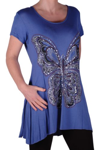 EyeCatch Plus - Schmetterlings Motiv Lang Frauen Kurzarm lose Damen Stretch Top Jade Grun Gr. 42