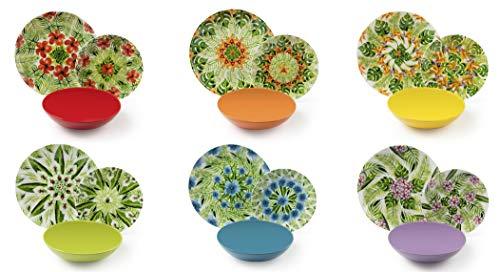 Excelsa Mandala Tropical Servizio Piatti 18 Pezzi, Porcellana e Ceramica Stoneware