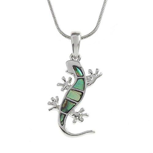 Abalone colgante de concha Paua Gecko (26mm) joyería collar para mujer con incrustaciones con azul y verde Shades of Natural Concha Paua en 16pulgadas Cadena de plata por Bella Mira