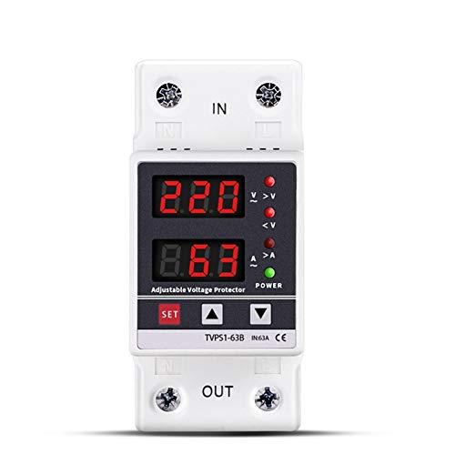 LUOXUEFEI Disyuntor Diferencial Interruptor 40A 63A 230V Protector De Voltaje Ajustable Recuperación Automática De Sobretensión Límite De Protección Sobre Relé De Protección De Corriente