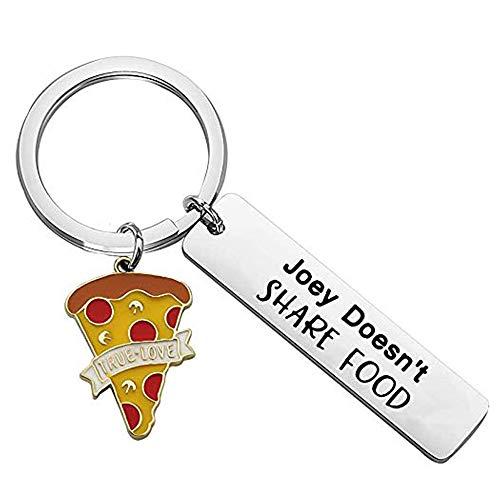 Portachiavi con scritta 'Joey Doesn't Share Food Pizza Charm portachiavi amici TV Show divertente regalo per amici e Acciaio inossidabile, colore: Joey Pizza, cod. NA
