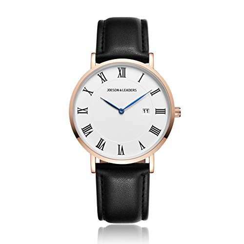 JOESON LEADERS Damen Uhr Analog Quarz mit Leder Armband Datum der Auto