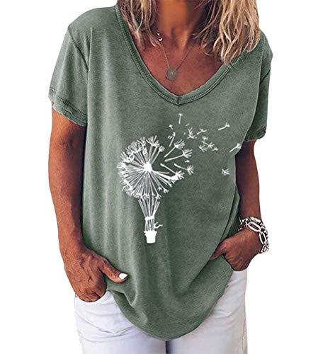 Minetom Pusteblume Bedrucktes T-Shirt Damen Kurzarm Lose Bluse Lässiger V-Ausschnitt Sommer Tops Oberteile E Grün 40