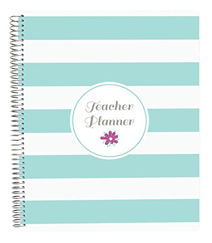 """Bloom Daily Planners Mint Stripe Undated Academic Year Teacher Planner Lesson Plan Book 9"""" x 11"""" Mint Stripes"""