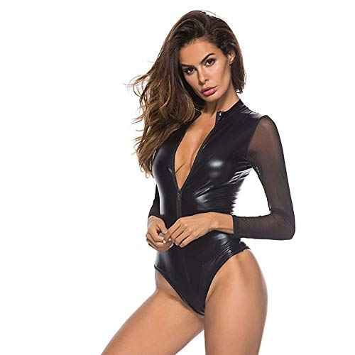 CYGGL Womens Latex Wet Look Catsuit Sex Reißverschluss vorne Bodycon Leder Club Jumpsuit Kunstleder Dessous