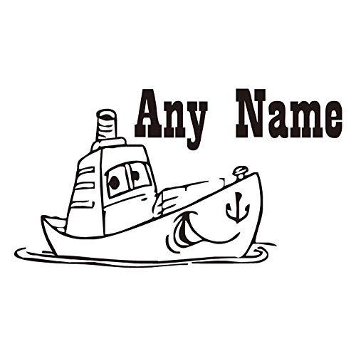 Sanzangtang Muurstickers, schattige boot, met een schattig gezicht om elke naam te personaliseren, muurtattoo, afneembaar, vinyl, zelfklevend, decoratie voor de kinderkamer
