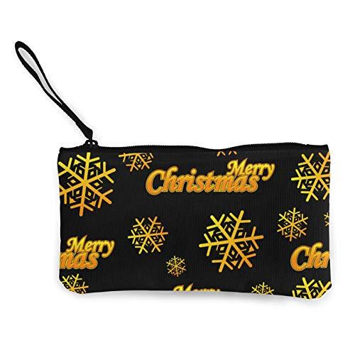 Bolsa de lona con logotipo dorado de Merry Christmas con cremallera, bolsa de cosméticos de viaje multifunción, bolsa de maquillaje para teléfono móvil, paquete de lápices con asa