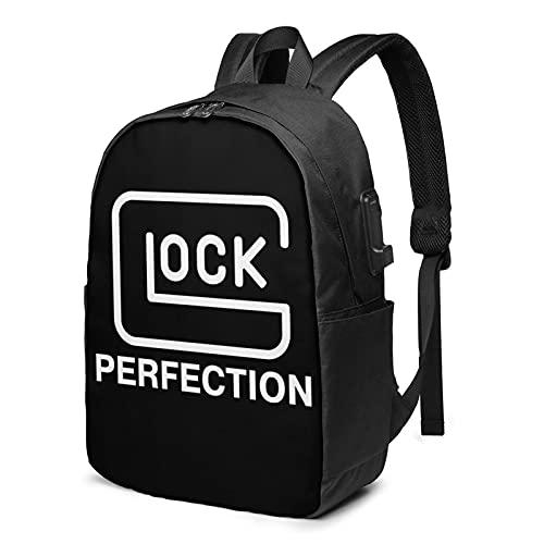 LETNNTOPE Glo-Ck Perfection Mochila con puerto de carga USB 17 pulgadas Daypack bolsa oficina viaje