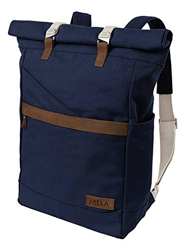 MELAWEAR Ansvar I Rucksack Roll Top aus Bio Baumwoll Canvas - Hochwertiger Damen & Herren Vintage Tagesrucksack aus 100% nachhaltigen Materialien - GOTS & Fairtrade, Farbe:blau