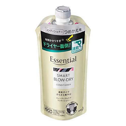 Kao Essential Smart Blow Dry Cuticle Care Conditioner Rifill 340ml - Aqua Floral (Green Tea Set)