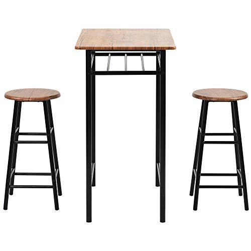 YINKUU juego de 3 piezas, mesa y sillas de estilo rústico vintage, juego de mesa de comedor con 2 taburetes de bar, capa de almacenamiento integrada