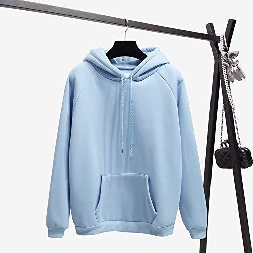 GDRFHJZ winterkantoor dame Cord Solid Harajuku Blue Pullover Hoodies Vrouwen sweatshirt dikke kleding