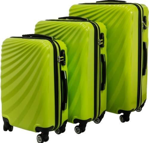 Juego de 3 maletas rígidas con asa telescópica, cerradura de combinación, color verde