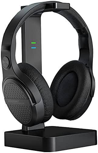 auvisio Funkkopfhörer: Digitaler Stereo-Funk-Kopfhörer mit Akku & DSP, 2in1-Ladestation, 60 m (Bügelkopfhörer)