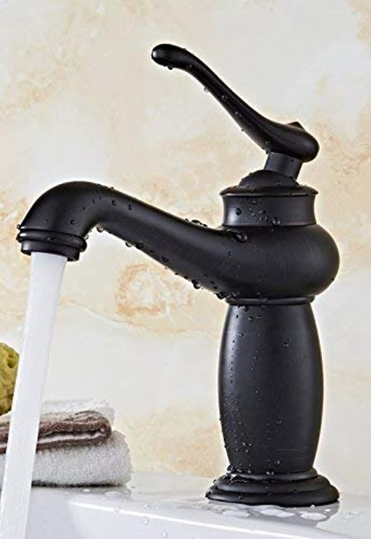 HhGold Mischer-Wasserhahn Kupfer im europischen Retro-Stil Warmes und kaltes Becken schwarz