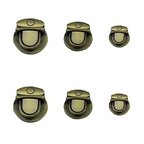 Aweisile Taschenverschluss 6 Stücke Schnallen und Verschlüsse Steckschlösser Steckschloss Steckverschluss Verschluss 3 Größe für Tasche Handwerk DIY Taschen Brieftasche