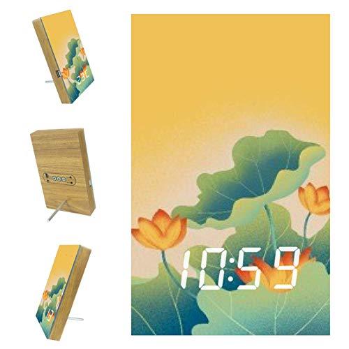 Eslifey Lotus Leaf Lotus Reloj despertador digital con pantalla de hora, temperatura y fecha, LED decorativo