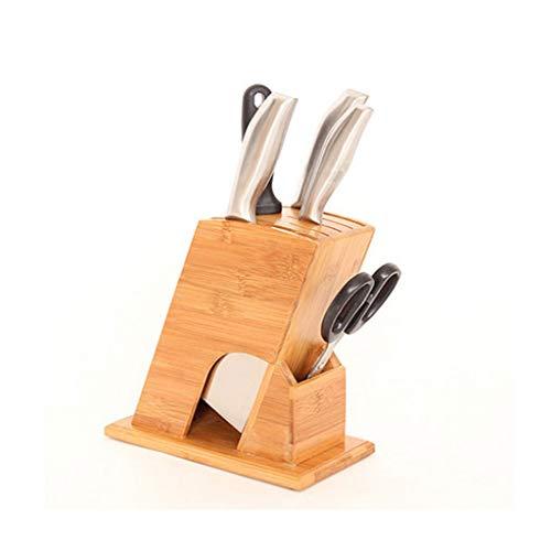 ZHANMAGS Bloque Universal para Cuchillos Tenedor de Cuchilla vacío para el hogar con 6 tragamonedas, Bloqueo de Cuchillo de Madera Caja de Acabado de encimera de Cocina 0401