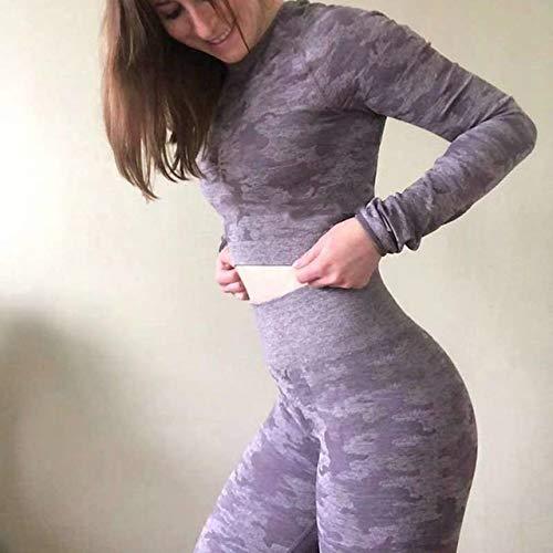 LYXDZW Vêtements De Yoga 2PCS Set Femmes Yoga Costume Set Sport Vêtements Workout Gym Manches Longues Fitness Crop Top Taille Haute Transparente Camo Leggings Vêtements De Remise en Forme F