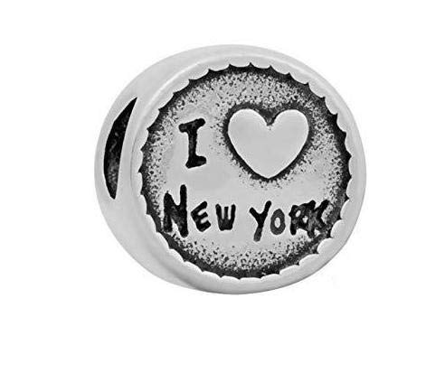 Buckets of Beads Stainless Steel I Love New York Charm Bead for Charm Bracelets