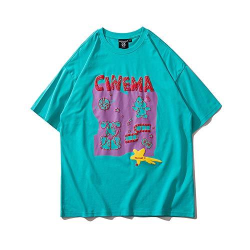 DREAMING-Sudadera De Manga Corta De Verano Camiseta De Algodón con Cuello Redondo Y Estampado Suelto Camisa De Pareja para Hombres Y Mujeres Green Medium