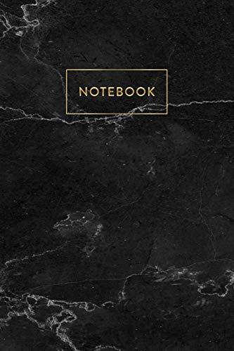 Notebook: Black Marble - Notizbuch in moderner Marmor Optik | ca. DIN A5 (6x9\'\'), kariert, 108 Seiten, Schwarzer Marmor mit Gold | für Notizen, ... Organizer, Kalender, Semesterplaner, Journal