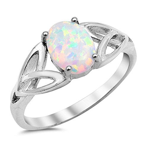 Solitaire White Simulated Opal Celtic Knot Ring .925 Sterling Silver Band Size 6